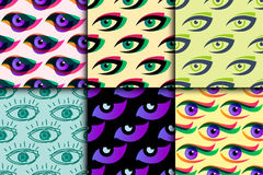 Eye blinker seamless pattern vision daylight glimmer template keeker light peeper company vector illustration Stock Photos
