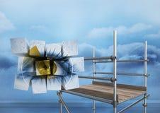 Eye on blocks in sky with 3D Scaffolding. Digital composite of Eye on blocks in sky with 3D Scaffolding Stock Photo