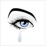 Am Eye Blue?. A tear flowing out of a beautiful blue eye Stock Image