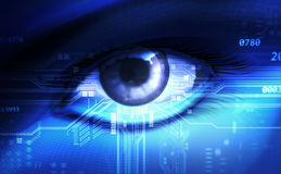 Eye. Blue eye with circuit board Royalty Free Stock Photo