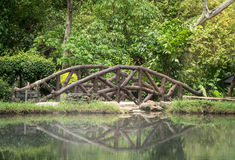 The eye of the bridge. The wooden bridge reflected itself in the water and made it look like an eye Stock Image