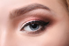 Eye with bright makeup closeup, model face crop Royalty Free Stock Images