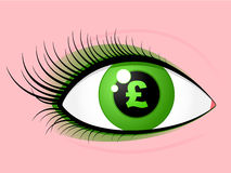 Eye british pound Royalty Free Stock Images