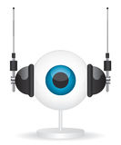 Eye camera and headphones illustration Stock Images