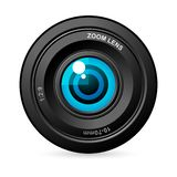 Eye in Camera Lens. Illustration of eye balls in camers lens on white background Royalty Free Stock Photography