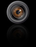 Eye in camera lens Royalty Free Stock Images