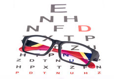 Eye care chart and glasses Stock Images