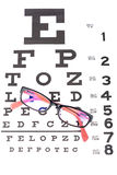 Eye care chart and glasses Royalty Free Stock Photo