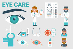 Eye care concept. Illustration of eye care infographic concept with icons and elements Stock Image