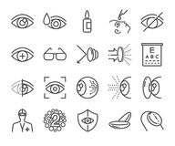 Eye care and optical icons set Stock Image