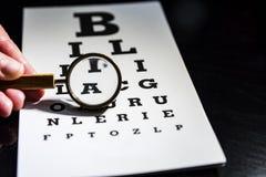 Eye a carta de teste com um vidro mgnifying, fundo preto foto de stock