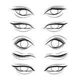 Eye cartoon line sketch shape  design abstract illustration Stock Photos