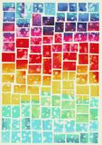 Colorful squares pattern in watercolor stock illustration