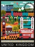 Eye-catching United Kingdom travel poster Royalty Free Stock Photo