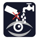 Eye caution. Do not drip into the eye and flush eyes with water signs. Vector vector illustration