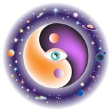 Eye in the center of the universe. All seeing eye in the center of the universe. Esoteric Yin and Yang decorative symbol. Vector illustration EPS-8 Stock Photos