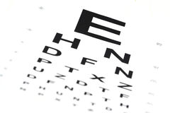 Eye chart. A eye chart with blurry small letters stock photography