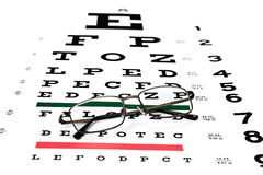 Eye chart. A pair of reading glasses on a Snellen eye exam chart to test eyesight accuracy royalty free stock images
