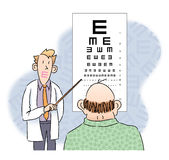 Eye Chart. An older man attempts to identify shapes on an eye chart Royalty Free Illustration