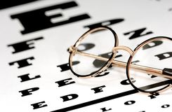 Eye Chart. Photo of Eyeglasses on a Eye Chart - Optometry Concept stock images
