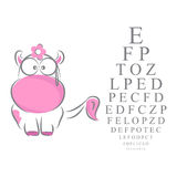 Eye Chart for Children. Vision or Snellen eye chart with an illustration of a pink cow with glasses Royalty Free Stock Image