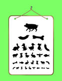 Eye chart for Children and Animals. Vector illustration isolated on white background Stock Photos