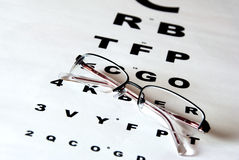 Eye chart and glasses. Glasses and eye test chart Stock Images