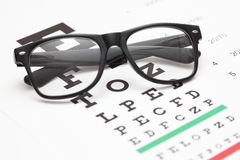 Eye Chart and Glasses Stock Photos