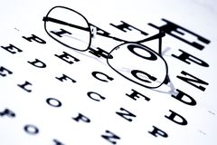 Eye Chart and Glasses Royalty Free Stock Images