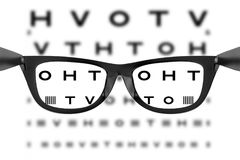 Eye Chart or Sight Test Seen Through Eye Glasses. 3d Rendering Royalty Free Stock Images