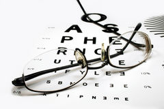 Eye chart with spectacles. Black rimmed spectacles on an eye chart with a white background Stock Photography