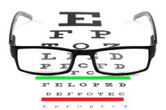 Eye Chart and Spectacles stock photography