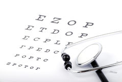 Eye Chart and stethoscope Stock Photos