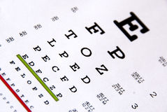 Eye chart test Royalty Free Stock Photo