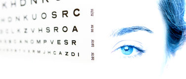 Eye chart test A in focus