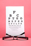 Eye chart test. Eye glass with test chart on pink background Stock Photo