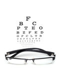 Eye chart test. Eye glass with test chart on white background Stock Photography