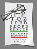 Eye charts and glasses Royalty Free Stock Photo