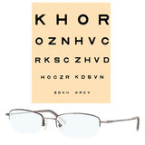 Eye checking chart and eyeglasses Stock Image