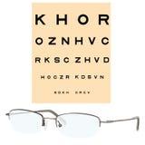 Eye checking chart and eyeglasses Stock Image