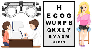 Eye checking machine and patients royalty free illustration