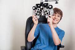 Eye Checkup With Phoropter Royalty Free Stock Photography
