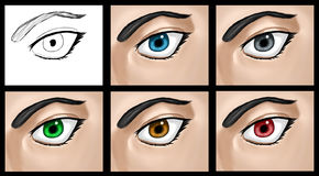 Eye Clip Art Set 01. A set of different colored eyes. All done from scratch in PhotoShop CS Royalty Free Stock Image
