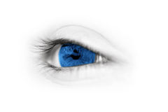 Eye closeup. Blue eye closeup from a young child over high key skin Royalty Free Stock Photos