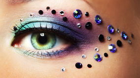 Eye closeup with makeup. Makeup of a beautiful woman eye Royalty Free Stock Image