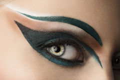 Eye closeup with makeup. looks at right Royalty Free Stock Images