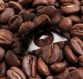 Eye with coffee beans texture Royalty Free Stock Image
