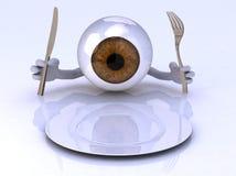 Eye con le mani e gli utensili davanti ad una zolla vuota Immagini Stock