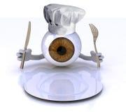 Eye con le mani ed utensili e cappello del cuoco unico davanti ad un pl vuoto Fotografia Stock