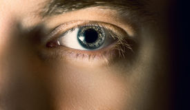 Eye with contact lens. Stock Photo